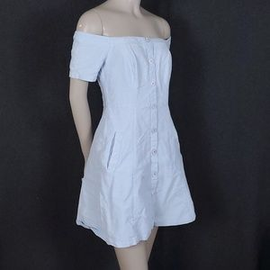 Lush Off Shoulder Button Down Chambray Dress -S